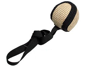 Jute ball with ribbon handles