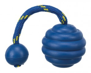 Rubber ball with rope and knob