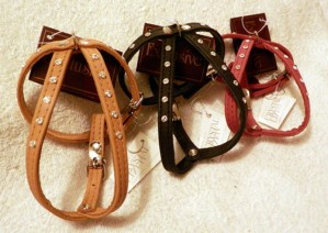Harness in calfskin nappa with Swarovski crystals