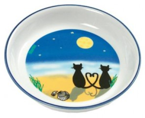 Ceramic bowl, cat and moon