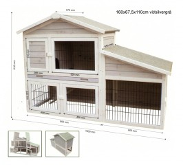 outdoor Rabbit cage white and silver gray 160x67,5x110 cm