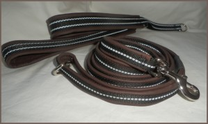 Set of collar and leash in soft leather